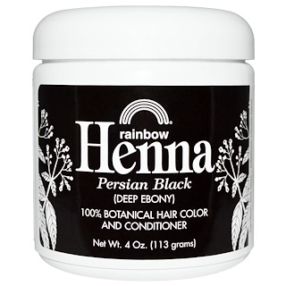 Rainbow Research, 헤나, 100% 식물성 모발 염색 및 컨디셔너, 페르시안 블랙(진한 검은색), 4 oz (113 g)
