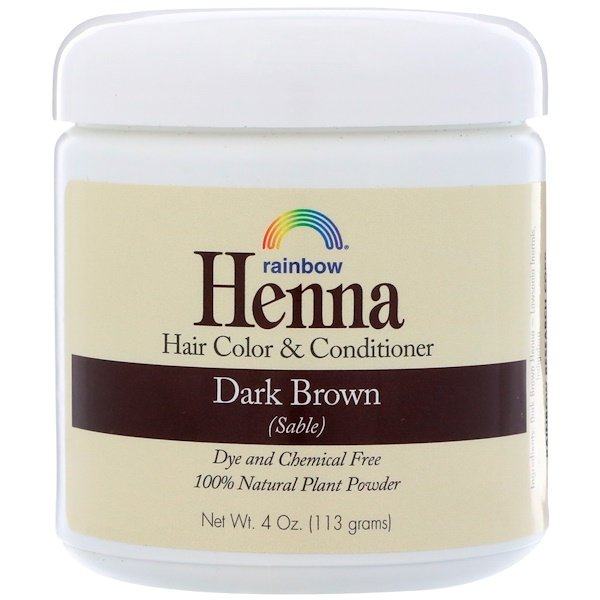 Rainbow Research, Henna, acondicionador y color para el cabello, marrón oscuro (sable), 4 oz (113 g)