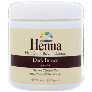 Рэйнбоу Ресерч, Henna, Hair Color & Conditioner, Dark Brown (Sable), 4 oz (113 g) отзывы