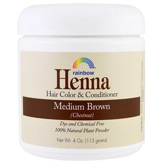 Rainbow Research, 헤나, 100% 식물성 모발 염색 및 컨디셔너, 페르시안 미디엄 브라운(밤색), 4 oz (113 g)