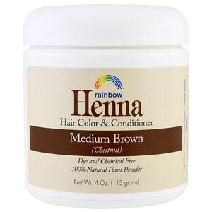 Рэйнбоу Ресерч, Henna, Hair Color and Conditioner, Medium Brown (Chestnut), 4 oz (113 g) отзывы