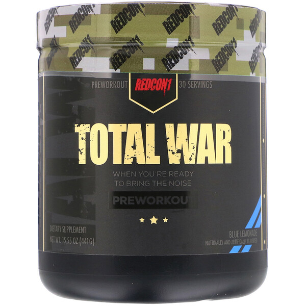 Redcon1, Total War, Preworkout, Blue Lemonade, 15.55 oz (441 g) (Discontinued Item)