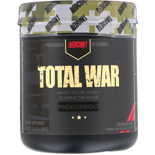 Redcon1, Total War, Preworkout, Strawberry Kiwi, 15.54 oz (441 g) (Discontinued Item)