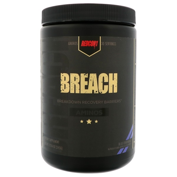 Redcon1, Breach, Aminos, Blue Lemonade, 12.16 oz (345 g) (Discontinued Item)