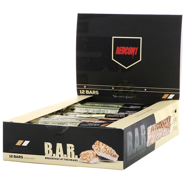 Redcon1, B.A.R. Breakfast at the Ready, Crunchy Cinnamon Bits, 12 Bars 1.76 oz ( 50 g)