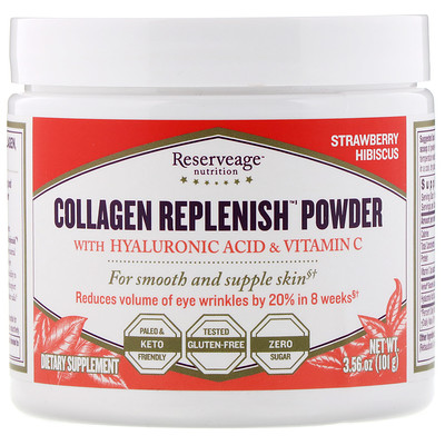Купить ReserveAge Nutrition Collagen Replenish Powder, Strawberry Hibsicus, 3.56 oz (101 g)