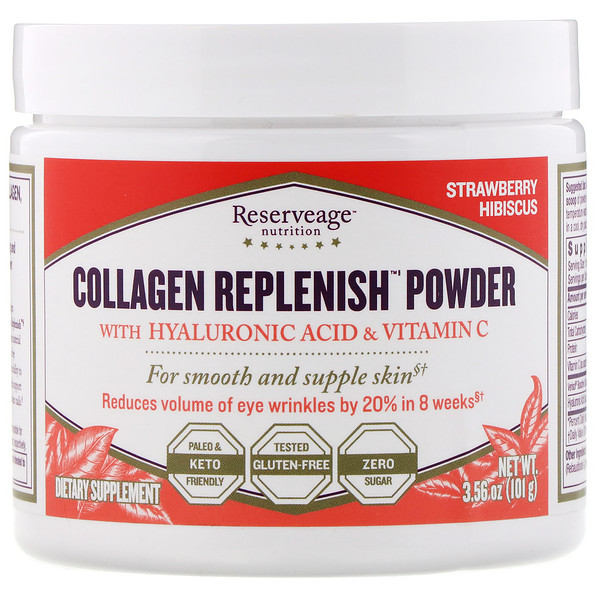 Collagen Replenish Powder, Strawberry Hibiscus, 3.56 oz (101 g)