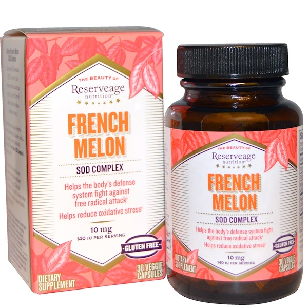 ReserveAge Nutrition, French Melon, SOD Complex, 10 mg, 30 Veggie Caps (Discontinued Item)