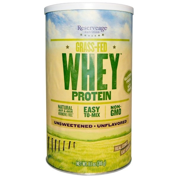 ReserveAge Nutrition, Grass-Fed Whey Protein, Unflavored, 11、1 oz (316 g)