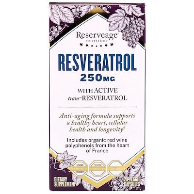 Ресвератрол, с активным транс-ресвератролом, 250 мг, 120 вегетарианских капсул