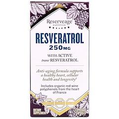 ReserveAge Nutrition, 白藜蘆醇和活性反式白藜蘆醇,250 毫克,120 粒素食膠囊