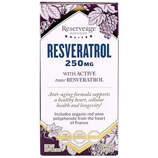 ReserveAge Nutrition, Resveratrol, With Active Trans-Resveratrol, 250 mg, 120 Veggie Capsules