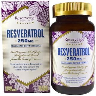 ReserveAge Nutrition, Resveratrol, Cellular Age-Defying Formula, 250 mg, 120 Veggie Caps