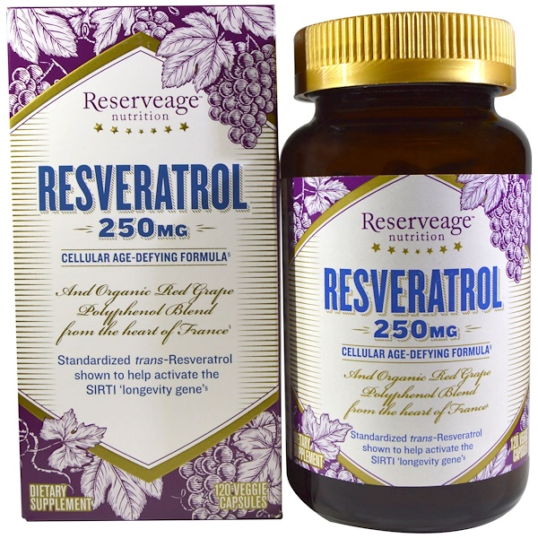 ReserveAge Nutrition, Resveratrol, Cellular Age-Defying Formula, 250 mg, 120 Veggie Caps