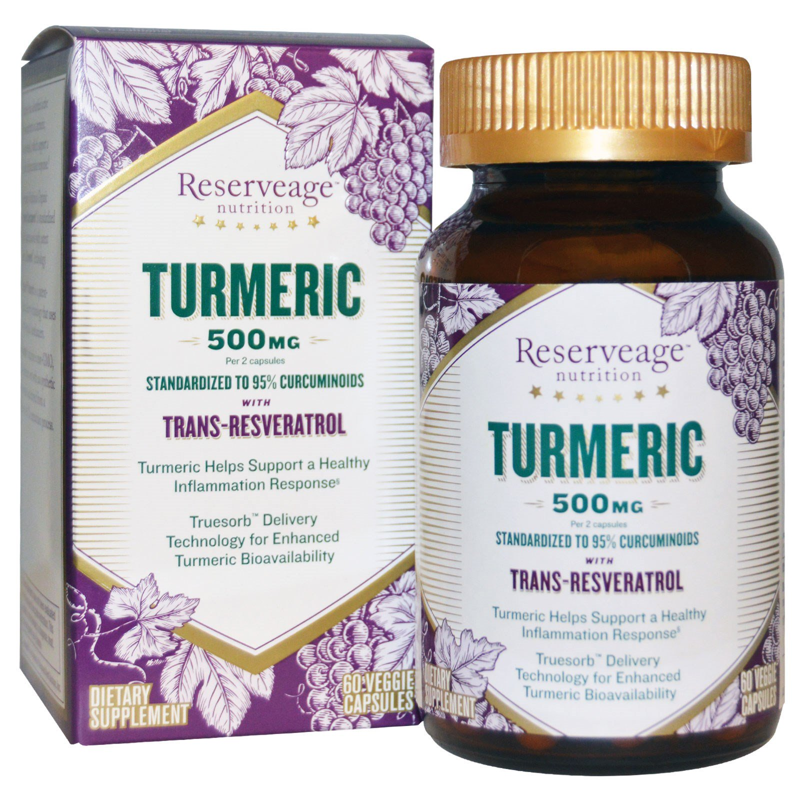 Reserveage Nutrition Turmeric With Trans Resveratrol 500 Mg 60