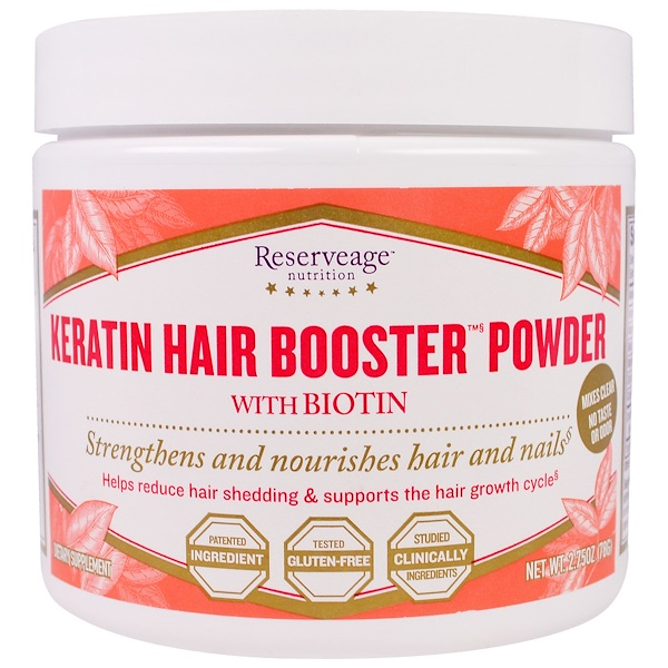 ReserveAge Nutrition, Keratin Hair Booster Powder with Biotin, 2.75 oz (78 g) (Discontinued Item)