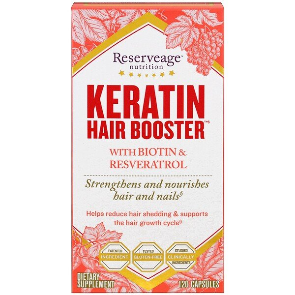 Keratin Hair Booster with Biotin & Resveratrol, 120 Capsules