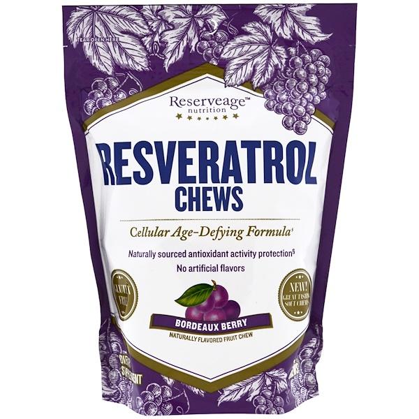 ReserveAge Nutrition, Mastigáveis de Resveratrol, Cereja Bordeaux, 30 Mastigáveis (Discontinued Item)
