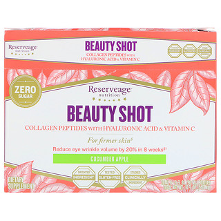 ReserveAge Nutrition, Beauty Shot, Collagen Peptides with Hyaluronic Acid & Vitamin C, Cucumber Apple Flavor, 6 Bottles