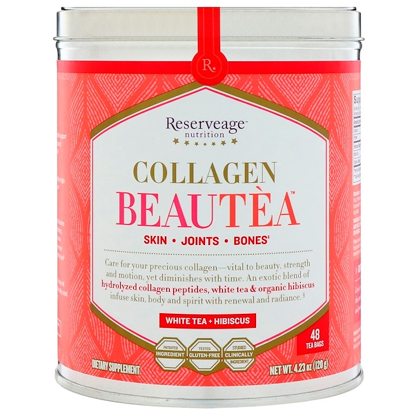 ReserveAge Nutrition, Collagen Beautea, White Tea + Hibiscus, 48 Tea Bags (Discontinued Item)
