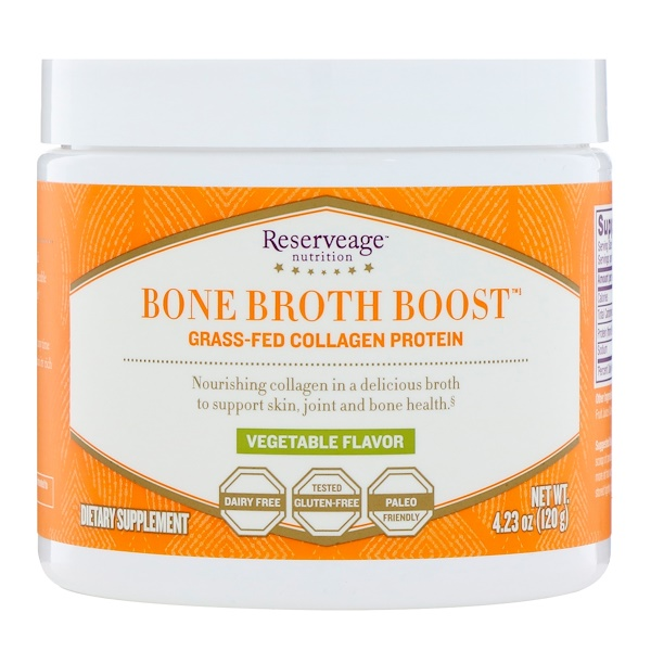 ReserveAge Nutrition, Bone Broth Boost, Grass-Fed Collagen Protein, Vegetable Flavor, 4.23 oz (120 g) (Discontinued Item)