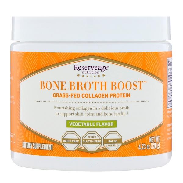 ReserveAge Nutrition, Bone Broth Boost, протеин коллаген от коров, вскормленных на подножном корме, со вкусом овощей, 4,23 унц. (120 г)