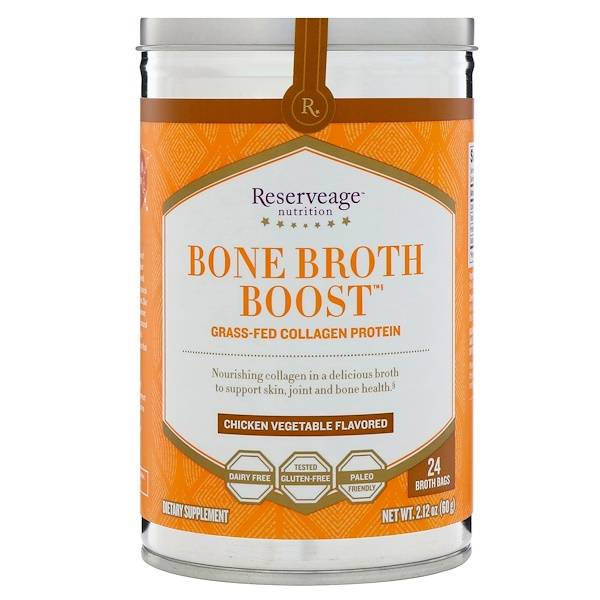 ReserveAge Nutrition, Bone Broth Boost, Grass-Fed Collagen Protein, Chicken Vegetable Flavored, 24 Broth Bags, 2.12 oz (60 g)