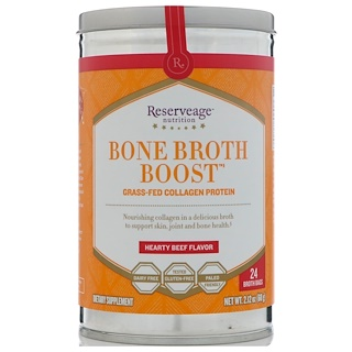 ReserveAge Nutrition, Bone Broth Boost, Grass-Fed Collagen Protein, Hearty Beef Flavor, 24 Broth Bags, 2.12 oz (60 g)