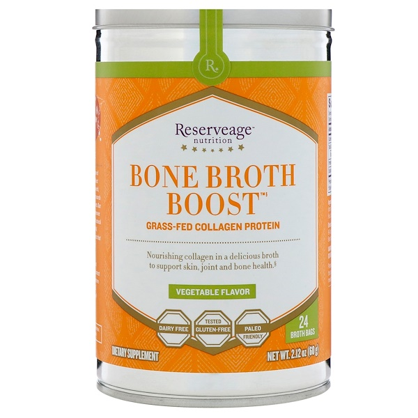 ReserveAge Nutrition, Bone Broth Boost, Grass-Fed Collagen Protein, Vegetable Flavor, 24 Broth Bags, 2.12 oz (60 g)