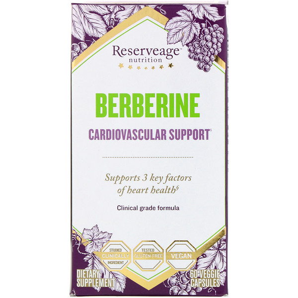 ReserveAge Nutrition, Berberine, Cardiovascular Support, 60 Veggie Capsules