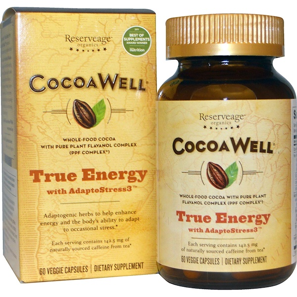 ReserveAge Nutrition, CocoaWell, True Energy, with AdaptoStress3, 60 Veggie Caps (Discontinued Item)