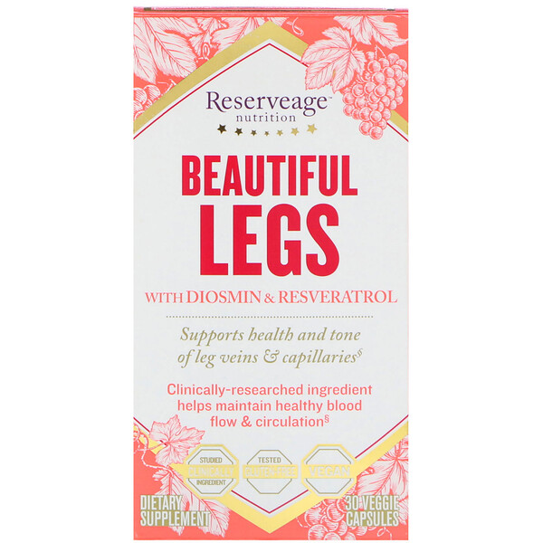 ReserveAge Nutrition, Beautiful Legs with Diosmin & Resveratrol, 30 Veggie Capsules