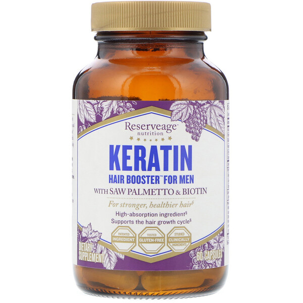 ReserveAge Nutrition, Keratin Hair Booster for Men, 60 Capsules