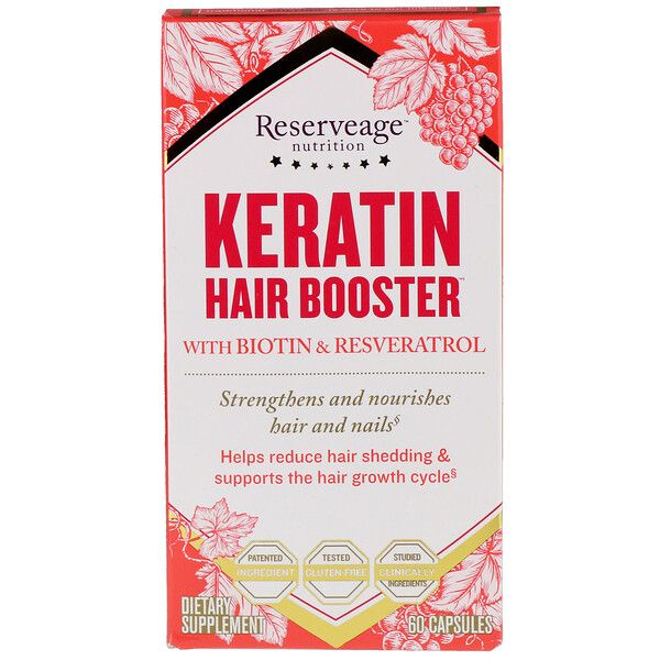 Keratin Hair Booster with Biotin & Resveratrol, 60 Capsules