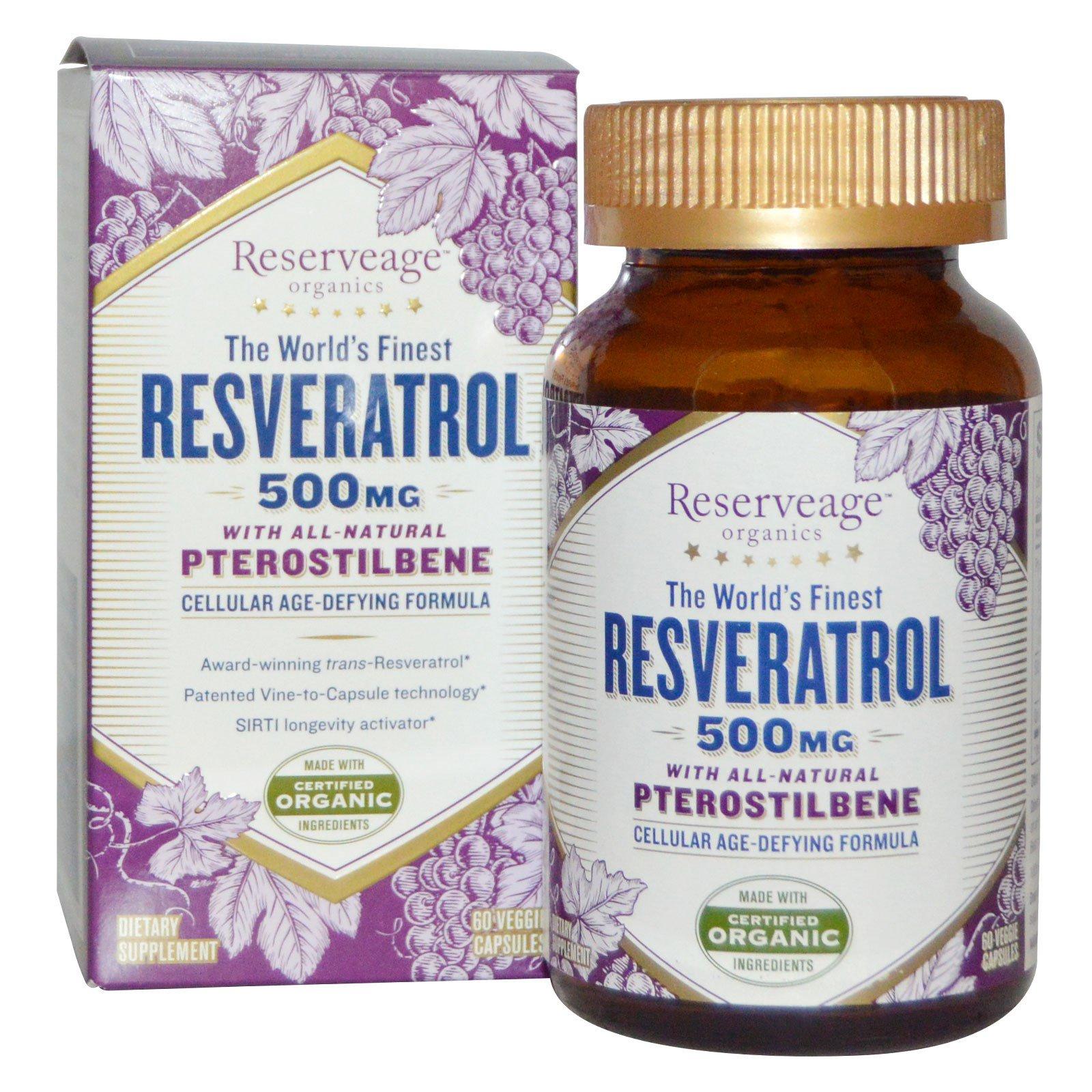 ReserveAge Nutrition, Ресвератрол с полностью натуральным птеростильбеном, 500 мг, 60 капсул на растительной основе