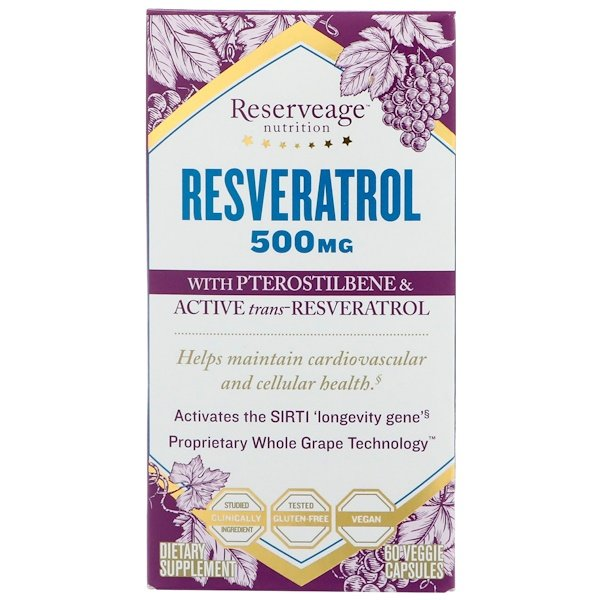 ReserveAge Nutrition, Resveratrol with Pterostilbene & Active Trans-Resveratrol, 500 mg, 60 Veggie Capsules (Discontinued Item)
