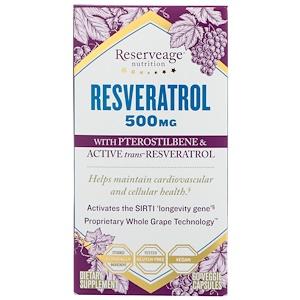 Резервеаге Нутритион, Resveratrol with Pterostilbene & Active Trans-Resveratrol, 500 mg, 60 Veggie Capsules отзывы