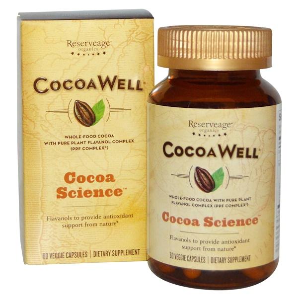ReserveAge Nutrition, Complejo de cocoa integral con flovanol puro de la planta, CocoaWell, 60 cápsulas vegetarianas (Discontinued Item)