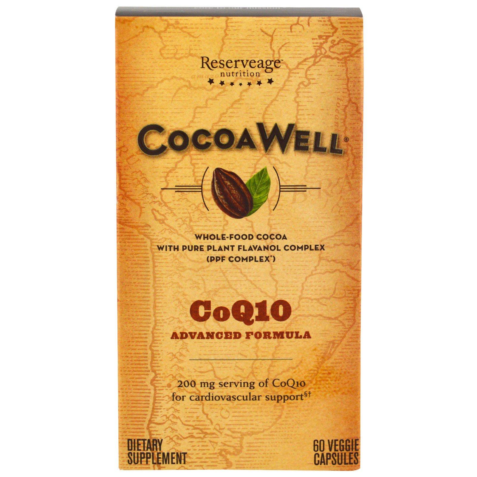 ReserveAge Nutrition, CocoaWell, CoQ10, передовая формула, 60 растительных капсул
