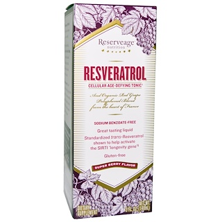 ReserveAge Nutrition, Resveratrol, Cellular Age-Defying Tonic, Super Berry Flavor, 5 fl oz (148 ml)