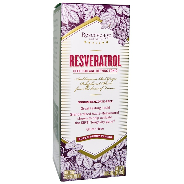 ReserveAge Nutrition, Resveratrol, Cellular Age-Defying Tonic, Super Berry Flavor, 5 fl oz (148 ml) (Discontinued Item)