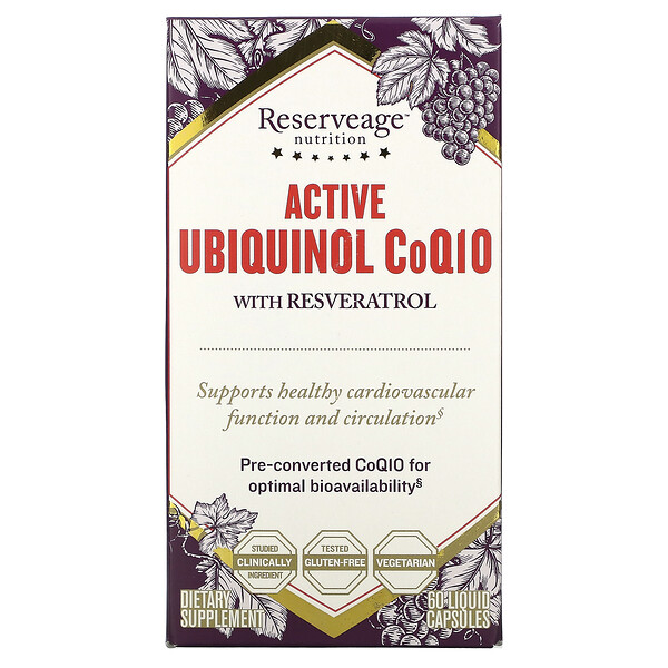 Active Ubiquinol CoQ10 with Resveratrol, 60 Liquid Capsules