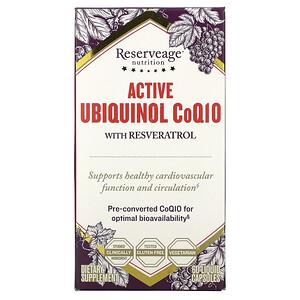 Резервеаге Нутритион, Active Ubiquinol CoQ10 with Resveratrol, 60 Liquid Capsules отзывы покупателей
