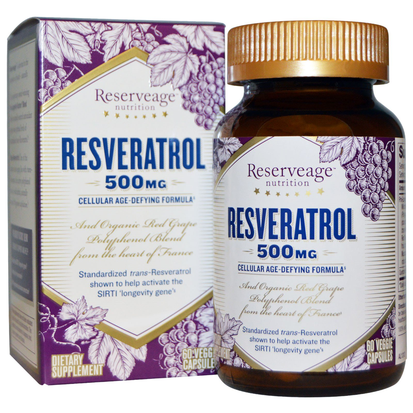 Reserveage Nutrition Resveratrol 500 Mg 60 Veggie Capsules Iherb