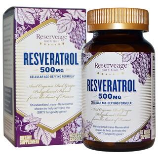 ReserveAge Nutrition, レスベラトロール, 500 mg, 60粒(ベジタリアンカプセル)