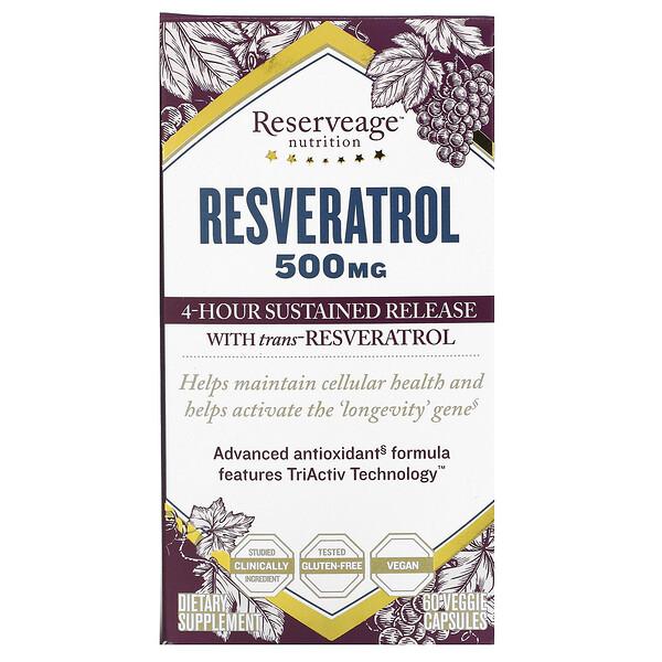 Resveratrol, 500 mg, 60 Veggie Capsules