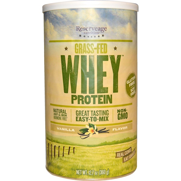 ReserveAge Nutrition, Grass-Fed Whey Protein, Vanilla Flavor, 12.7 oz (360 g) (Discontinued Item)