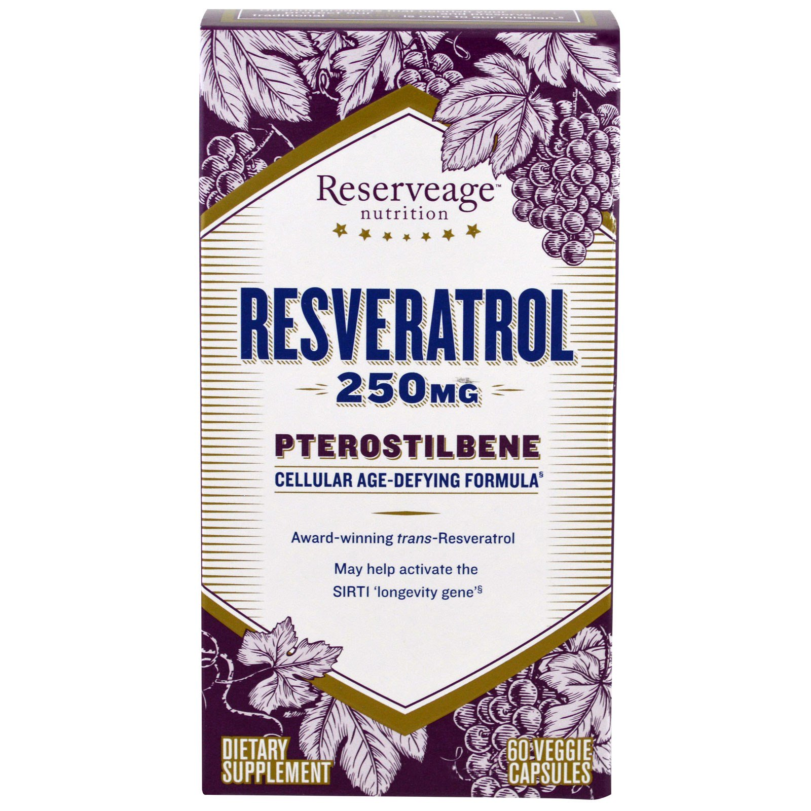 ReserveAge Nutrition, Resveratrol, Pterostilbene, 250 mg, 60 Veggie Caps