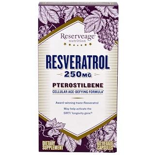 ReserveAge Nutrition, Resveratrol, Pterostilbene, 250 mg, 60 Veggie Capsules