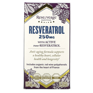 ReserveAge Nutrition, Resveratrol, 250 mg, 60 Veggie Capsules